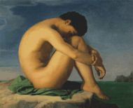 Naked Young Man Sitting On A Rock PDF
